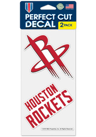 Houston Rockets 4x4 inch 2 Pack Perfect Cut Auto Decal - Red