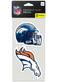 Denver Broncos 4x4 inch 2 Pack Perfect Cut Auto Decal - Blue