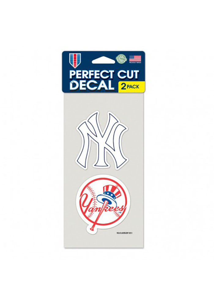New York Yankees 4x4 inch 2 Pack Perfect Cut Auto Decal - White