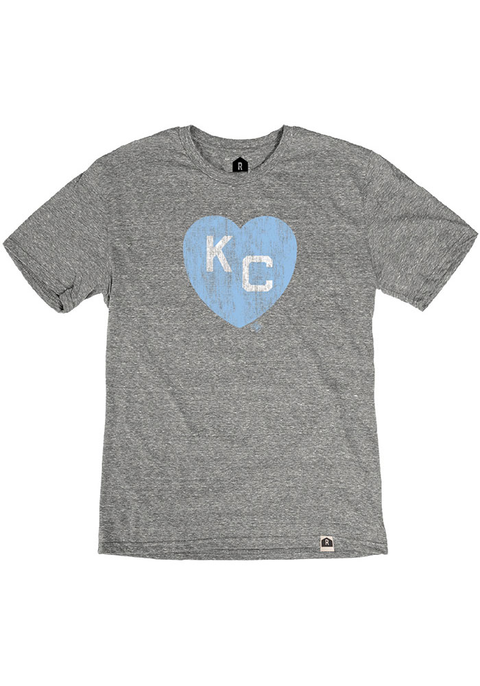 Kansas City Monarchs Grey Heart KC Short Sleeve Fashion T Shirt - Image 1
