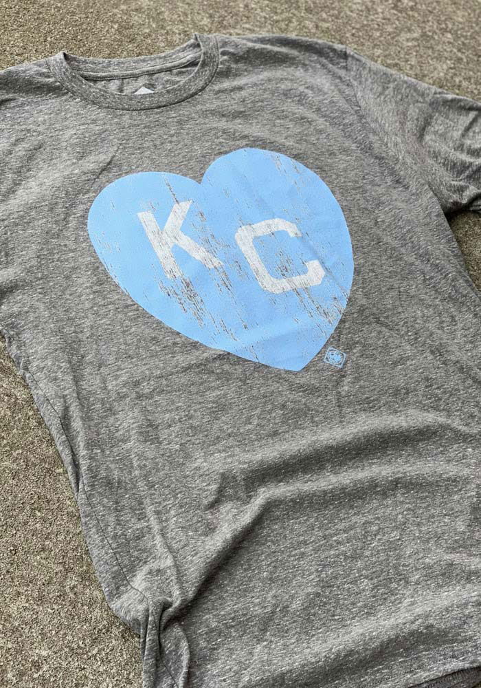 Kansas City Monarchs Grey Heart KC Short Sleeve Fashion T Shirt - Image 2