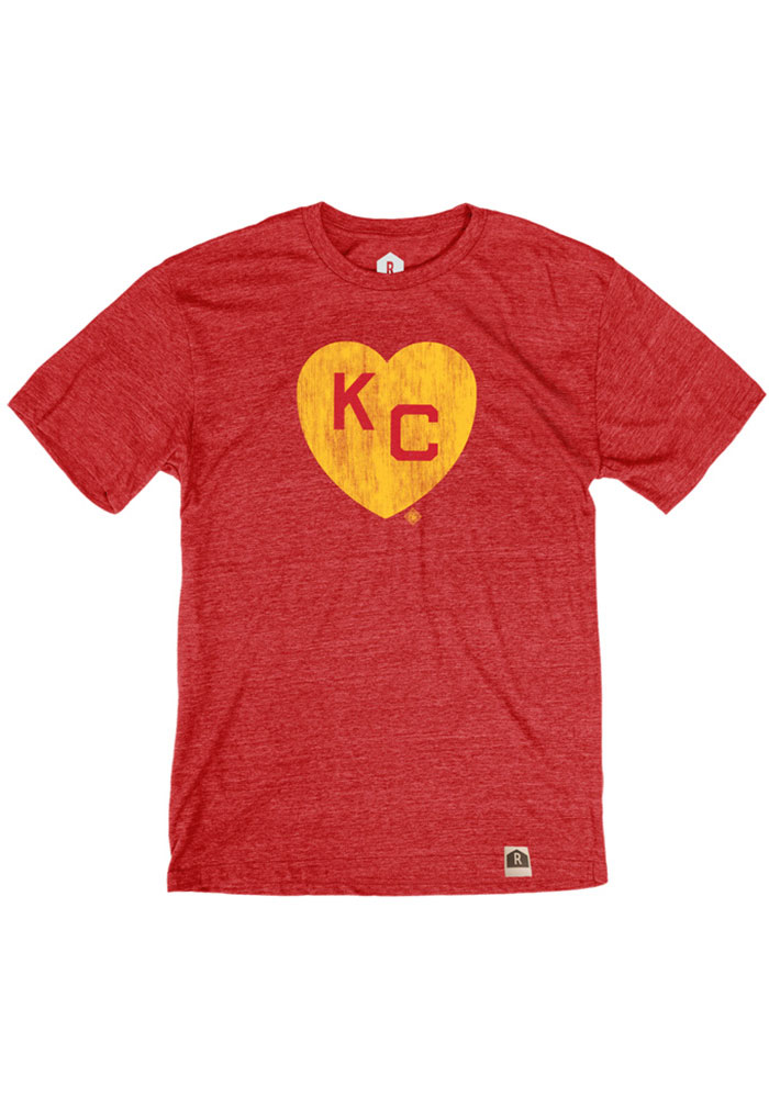 Kansas City Monarchs Red Heart KC Short Sleeve Fashion T Shirt - Image 1