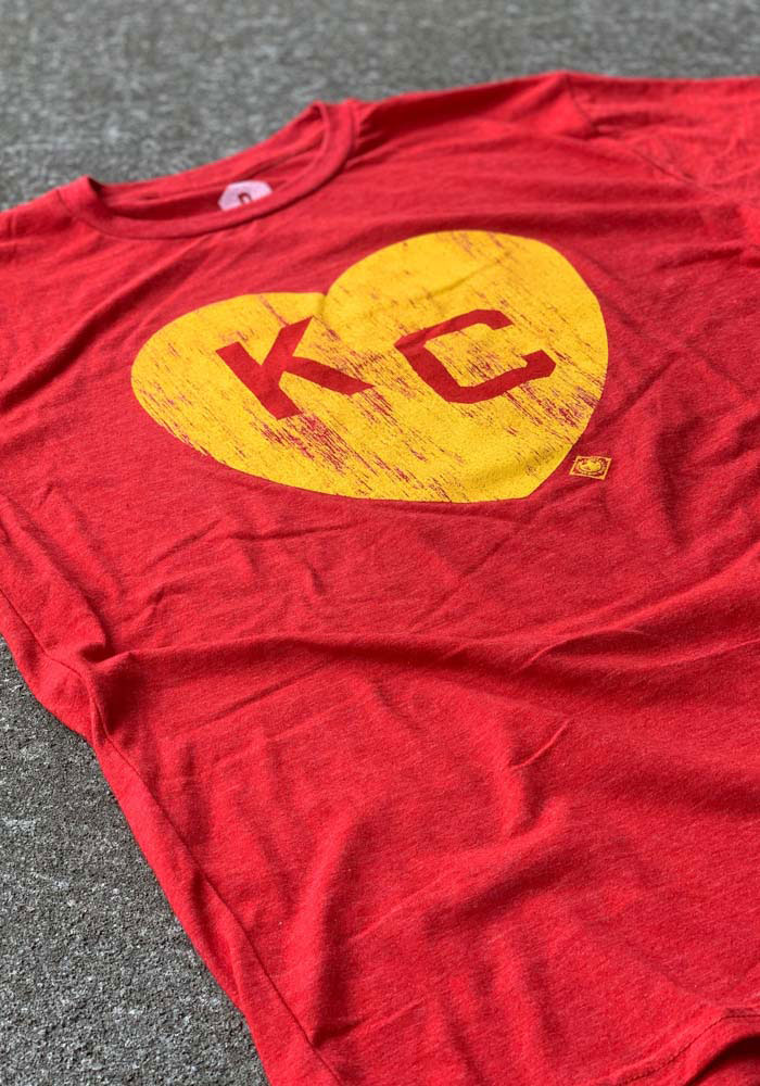 Kansas City Monarchs Red Heart KC Short Sleeve Fashion T Shirt - Image 2