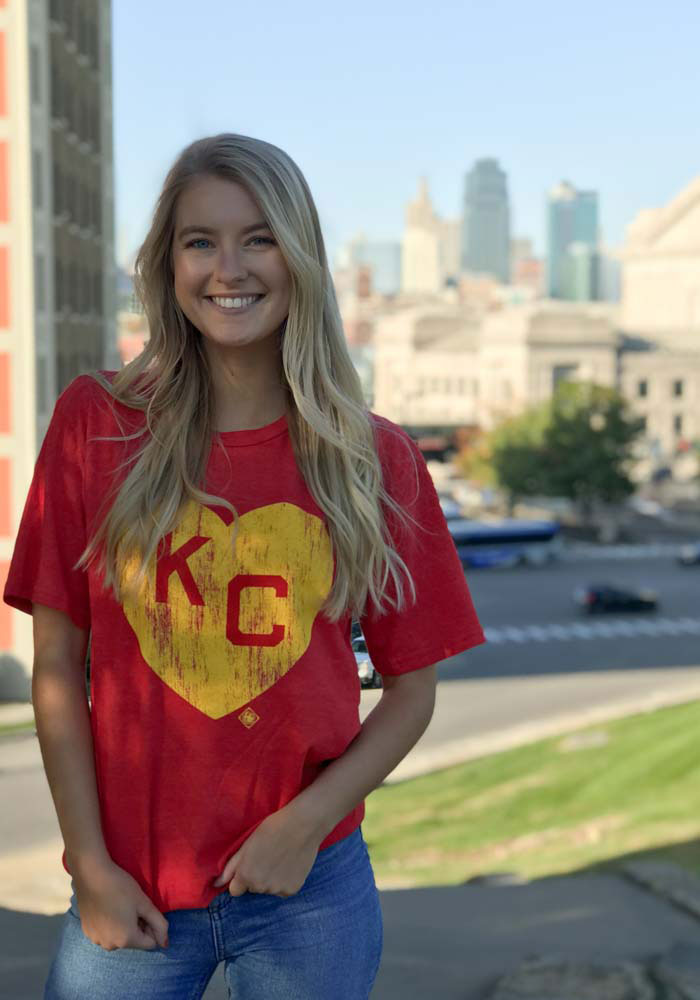 Kansas City Monarchs Red Heart KC Short Sleeve Fashion T Shirt - Image 3