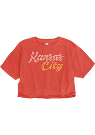 Kansas City W Red Roller Rink Wordmark Cropped Short Sleeve T Shirt