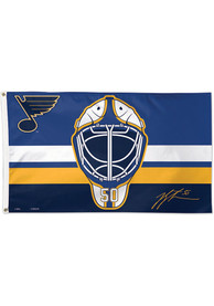 St Louis Blues Binnington Mask 3x5 ft Blue Silk Screen Grommet Flag