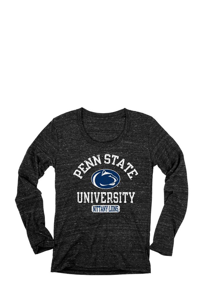 Penn State Juniors Black Danville Long Sleeve Scoop Neck, Black, 50 POLY/ 37 COT/ 13 RAY, Size L