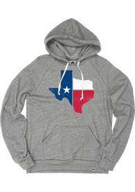 Texas Grey State Flag Long Sleeve Fleece Hood Sweatshirt