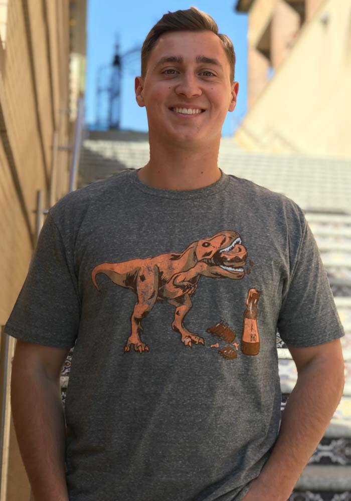 Kansas City Grey T-rex BBQ Short Sleeve T Shirt - Image 2