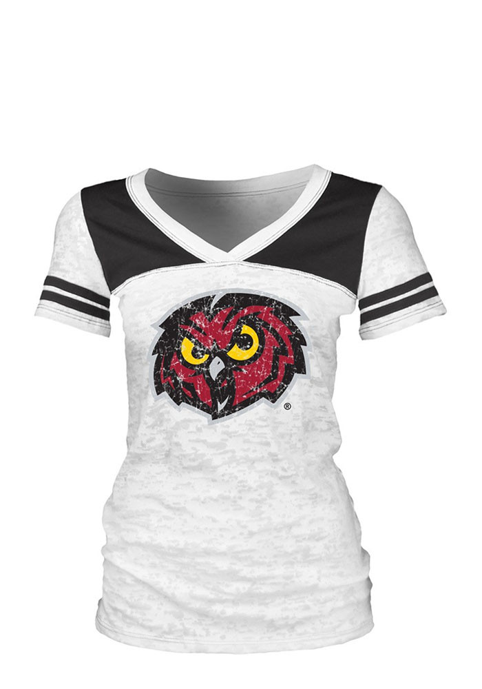 Temple Owls Juniors White Burnout V-Neck T-Shirt - Image 1