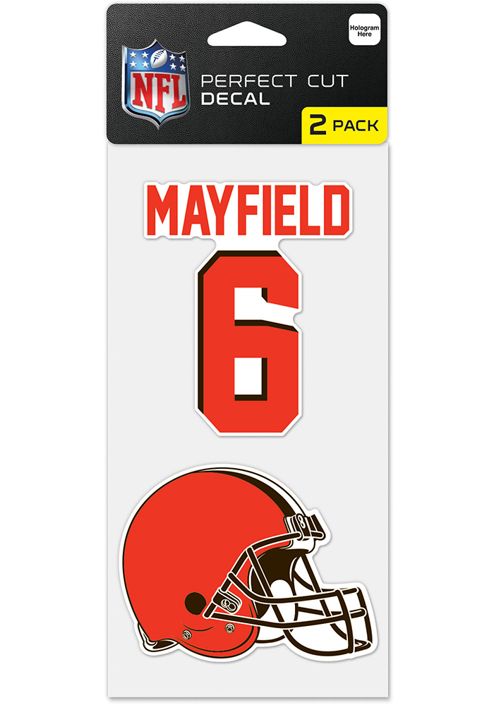 Baker Mayfield Cleveland Browns 4x4 inch Perfect Cut Auto Decal - Orange
