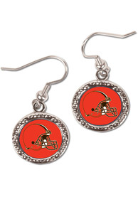 Cleveland Browns Womens Hammered Dangler Earrings - Brown