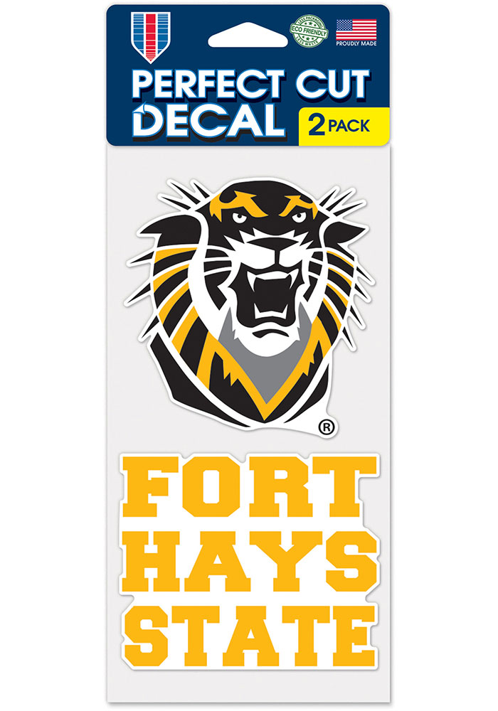 Fort Hays State Tigers 4x4 inch 2 Pack Auto Decal - Yellow