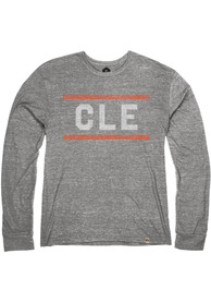 Cleveland Heather Grey CLE Block Long Sleeve T Shirt
