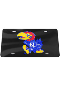 Kansas Jayhawks Black Glitter Car Accessory License Plate