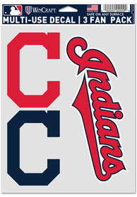 Cleveland Indians Triple Pack Auto Decal - Red