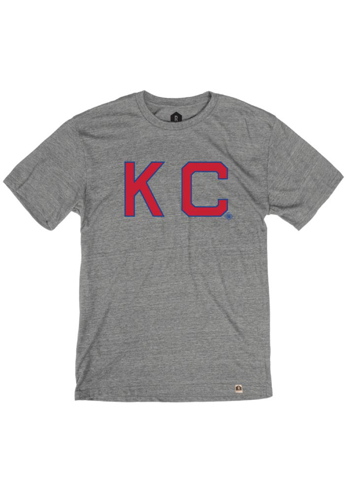 Kansas City Monarchs Grey Skinny Block Short Sleeve Fashion T Shirt - Image 1