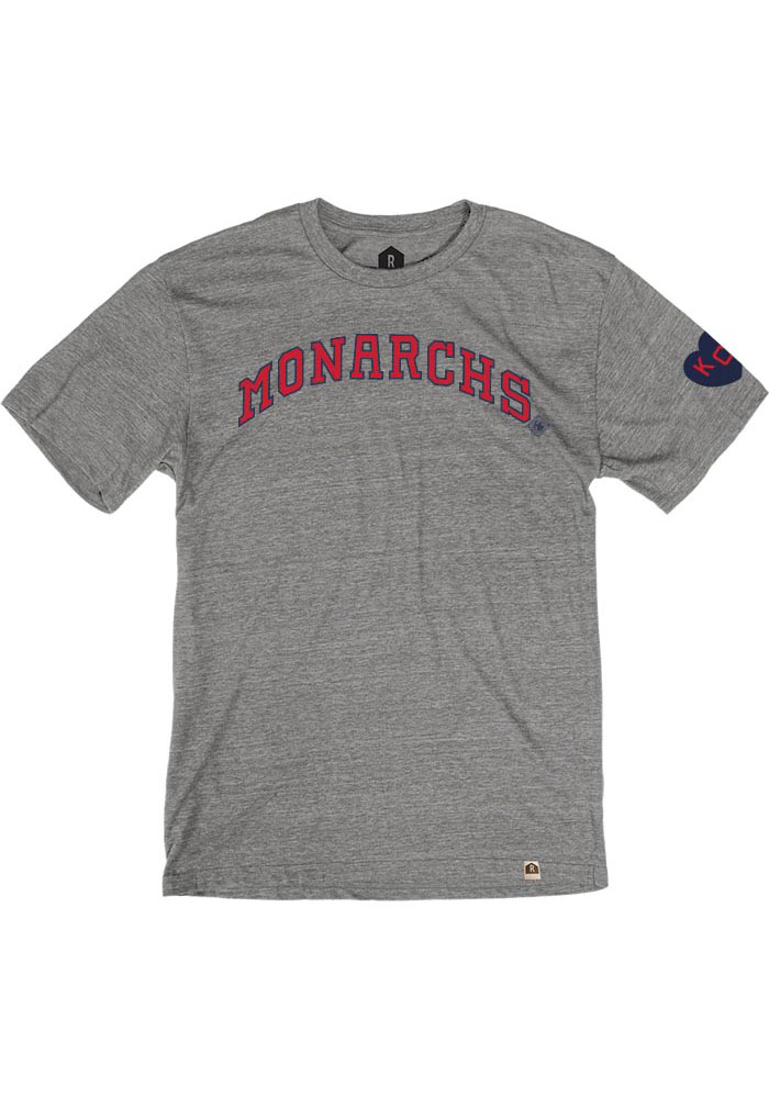 Kansas City Monarchs Grey Arched Heart Short Sleeve Fashion T Shirt - Image 1