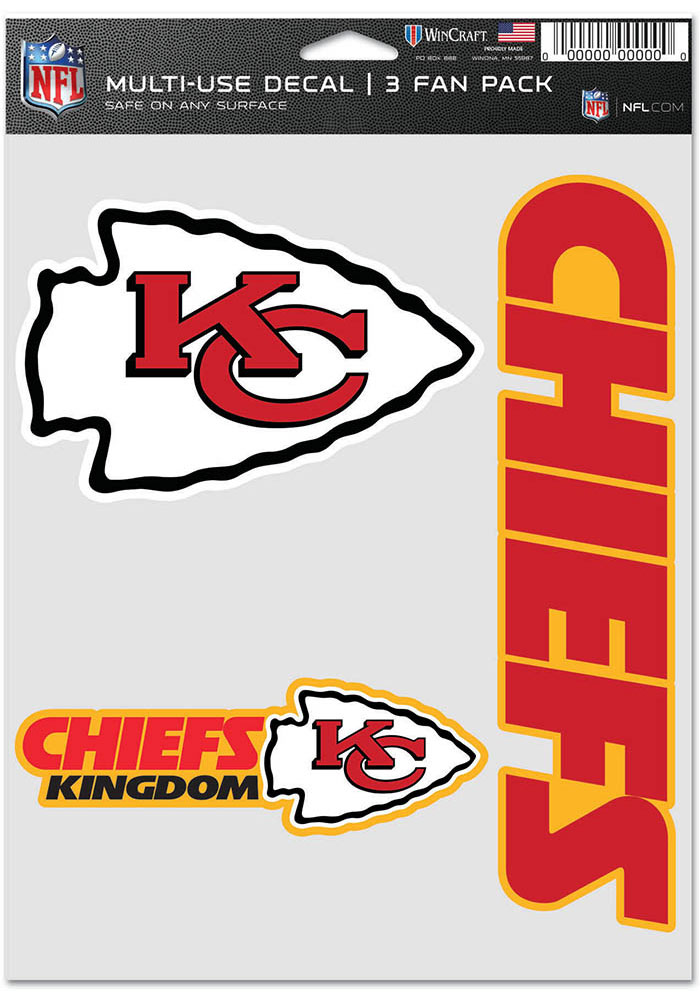 Kansas City Chiefs Triple Pack Auto Decal - Red - Image 1
