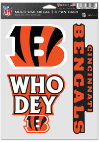 Cincinnati Bengals Triple Pack Auto Decal - Orange