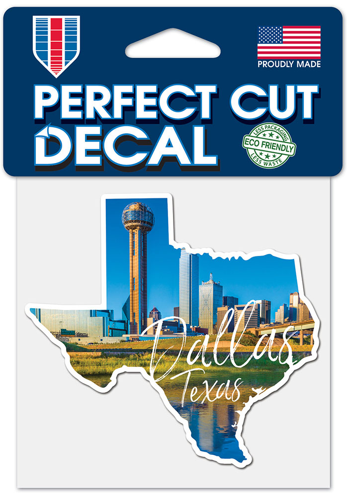 Dallas Ft Worth 4x4 State Shape Auto Decal - Blue - Image 1