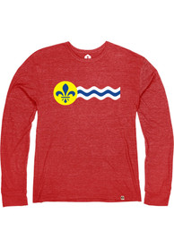 St. Louis Heather Red City Flag Long Sleeve T Shirt