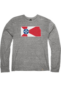 Wichita Heather Grey City Flag State Long Sleeve T Shirt