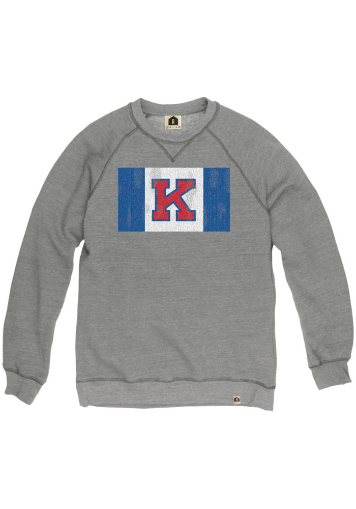 Kansas Jayhawks Grey Flag Fashion Sweatshirt