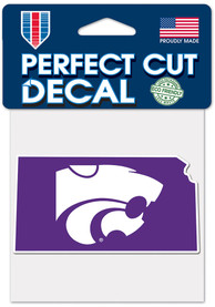 K-State Wildcats 4x4 State Shape Auto Decal - Purple
