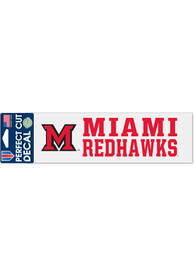 Miami RedHawks 3x10 Perfect Cut Auto Decal - Red