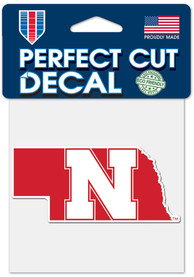 Nebraska Cornhuskers 4x4 State Shape Auto Decal - Red