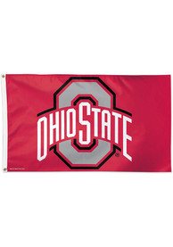 Ohio State Buckeyes 3x5 ft Deluxe Red Silk Screen Grommet Flag