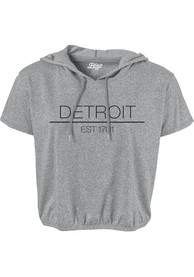 Detroit Womens Grey Precint Jr Short Sleeve Hooded Tee