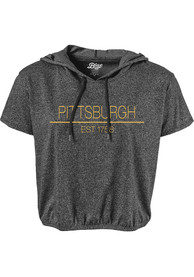 Pittsburgh Womens Black Precint Jr Short Sleeve Hooded Tee