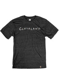 Cleveland Black Wordmark Dots Short Sleeve T Shirt