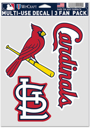 St Louis Cardinals Triple Pack Auto Decal - Red