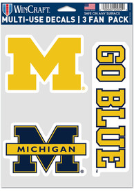 Michigan Wolverines Triple Pack Auto Decal - Blue