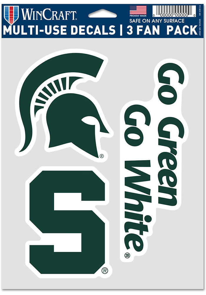 Michigan State Spartans Triple Pack Auto Decal - Green