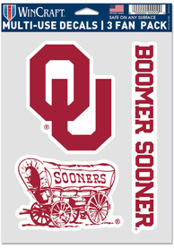 Oklahoma Sooners Triple Pack Auto Decal - Red
