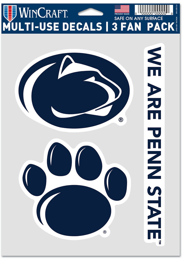 Penn State Nittany Lions Triple Pack Auto Decal - Blue