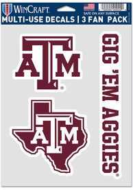 Texas A&M Aggies Triple Pack Auto Decal - Maroon