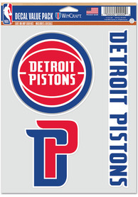 Detroit Pistons Triple Pack Auto Decal - Red