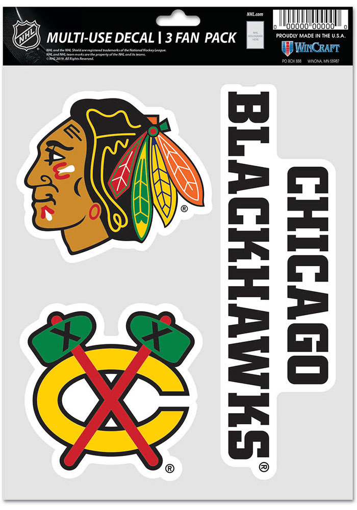 Chicago Blackhawks Triple Pack Auto Decal - Black - Image 1