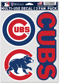 Chicago Cubs Triple Pack Auto Decal - Blue