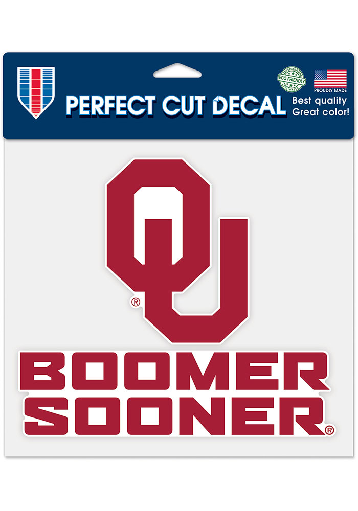 Oklahoma Sooners 8x8 Auto Decal - Red - Image 1