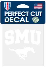 SMU Mustangs 4x4 White Auto Decal - White