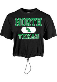 North Texas Mean Green Womens Wind Swept Toggle Bottom T-Shirt - Black