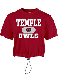 Temple Owls Womens Wind Swept Toggle Bottom T-Shirt - Cardinal