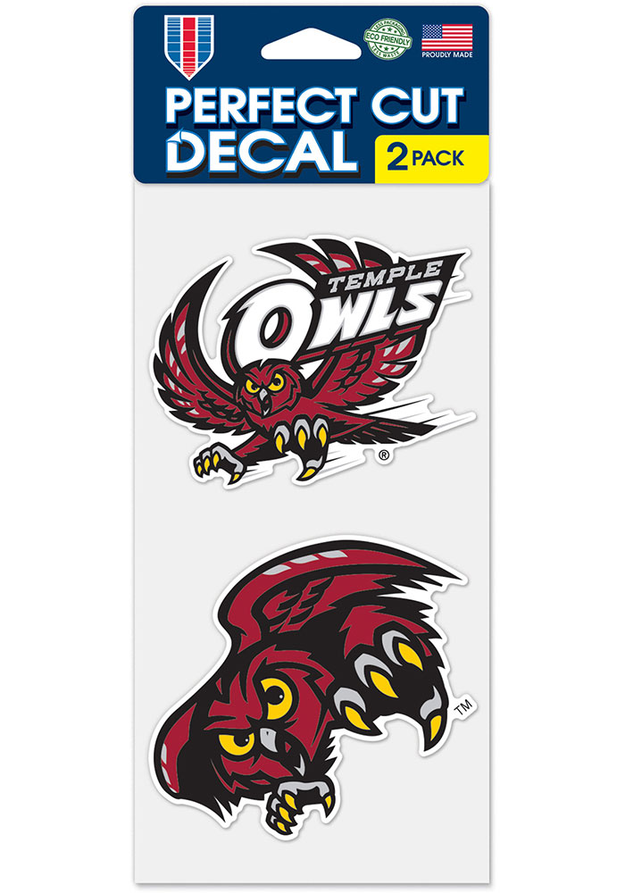 Temple Owls 4x4 2 Pack Auto Decal - Red - Image 1