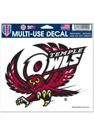 Temple Owls 5x6 Auto Decal - Red